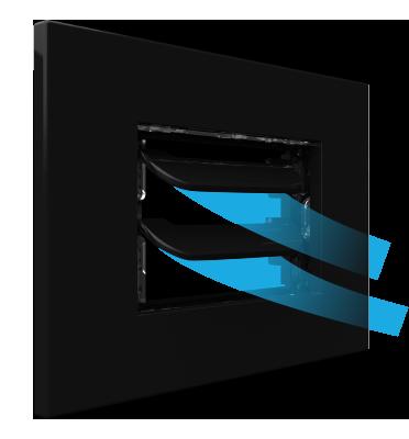 Dettaglio griglia vmc Disappair 503 nera per placche elettriche